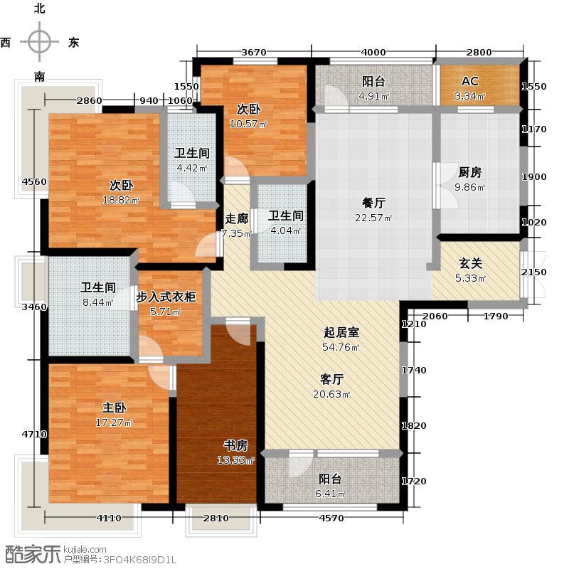 招商钻石山234.00㎡01户型 四室三卫二厅户型4室3厅2卫