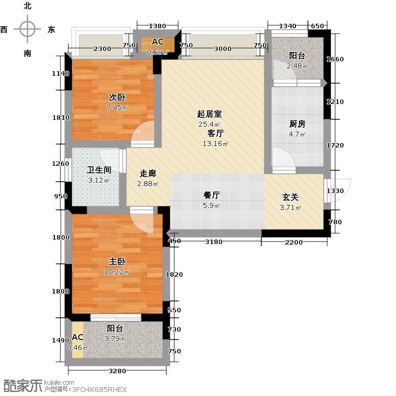 光谷坐标城�馆80.76㎡五期A户型 2室2厅1卫户型2室2厅1卫