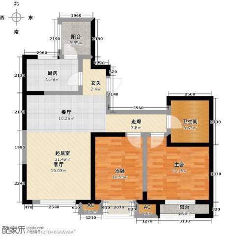格调艺术领地2室0厅1卫1厨103.00㎡户型图