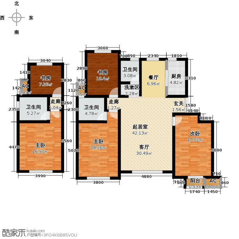 首创爱这城A6户型三室两厅两卫户型3室2厅2卫