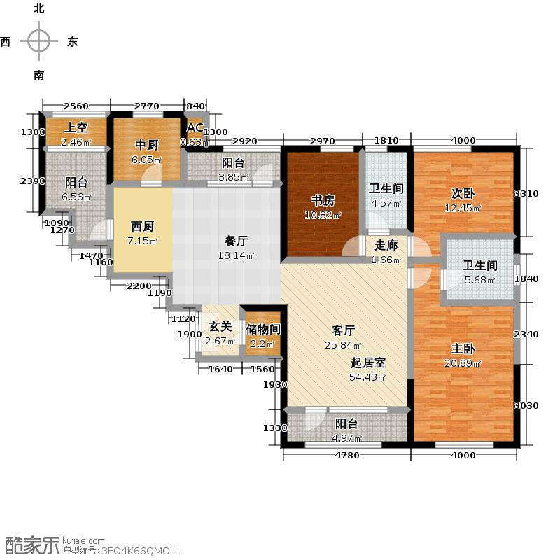 招商钻石山180.00㎡A04 3-12层 偶数层户型