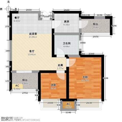 国耀上河城2室0厅1卫1厨89.00㎡户型图