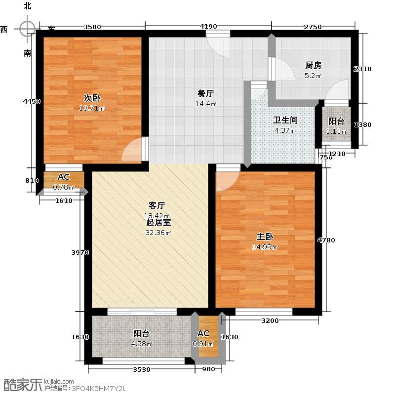万通生态城新新家园147.00㎡高层1--13F 3室2厅2卫户型