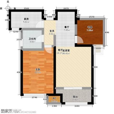 国耀上河城2室0厅1卫1厨93.00㎡户型图