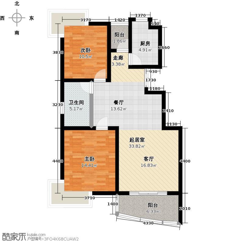 鳌山名苑89.20㎡高层A1户型2室2厅1卫
