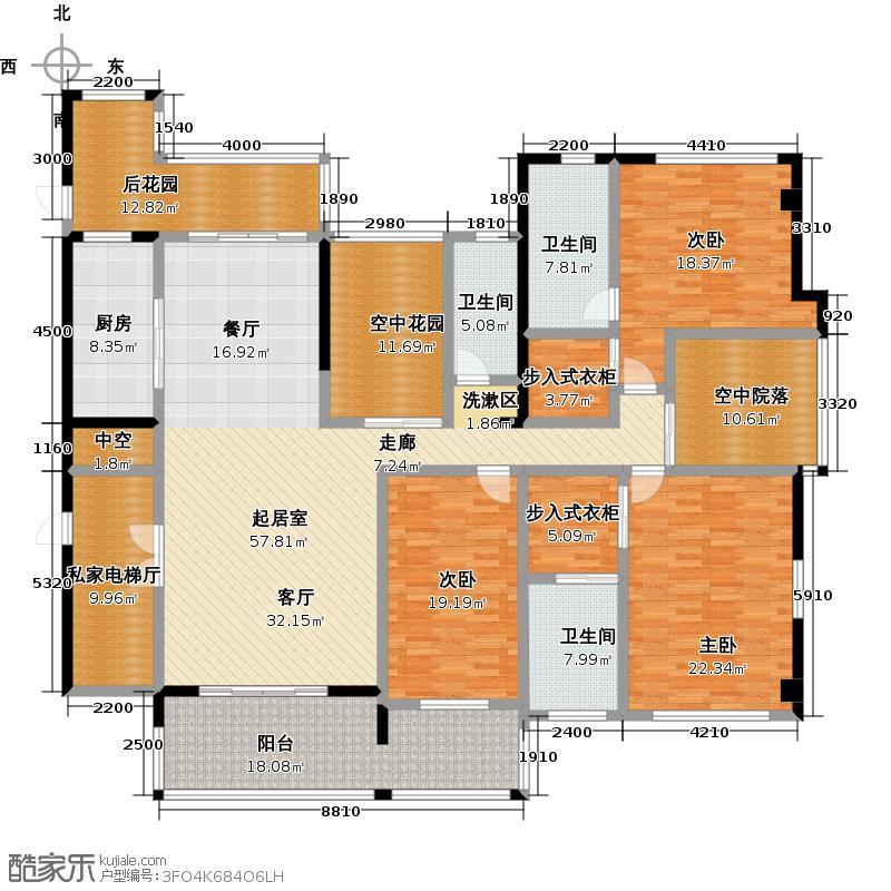 南湖半岛231.00㎡6栋 三室两厅三卫户型3室2厅3卫