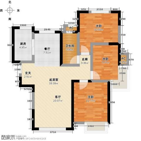 南益名士华庭3室0厅1卫1厨117.00㎡户型图