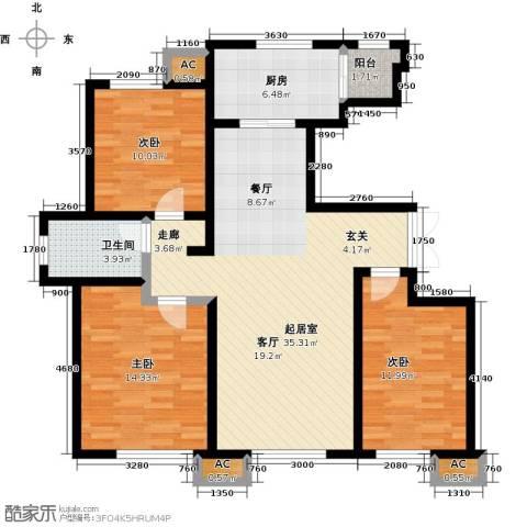 万通生态城新新家园3室0厅1卫1厨125.00㎡户型图