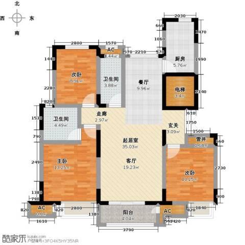 南益名士华庭3室0厅2卫1厨125.00㎡户型图
