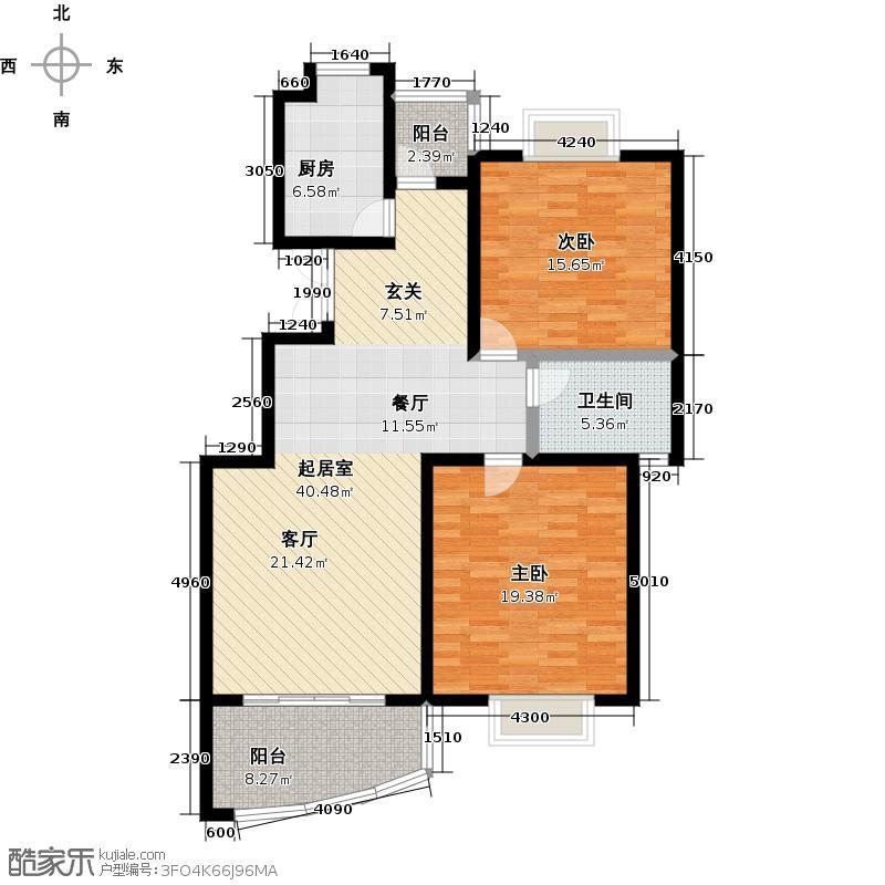 鳌山名苑90.18㎡高层A2户型2室2厅1卫
