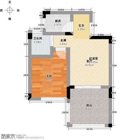 塞拉维假日1室0厅1卫1厨43.00㎡户型图