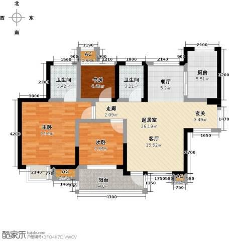 新长江香榭琴台四期墨园3室0厅2卫1厨96.00㎡户型图