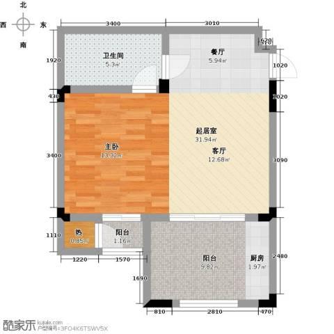 隆鑫花漾的山谷三期1卫0厨55.00㎡户型图