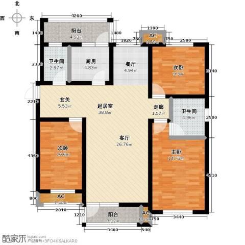 明城东岸3室0厅2卫1厨142.00㎡户型图