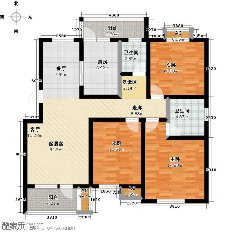 明城东岸136.00㎡D户型3室2厅2卫