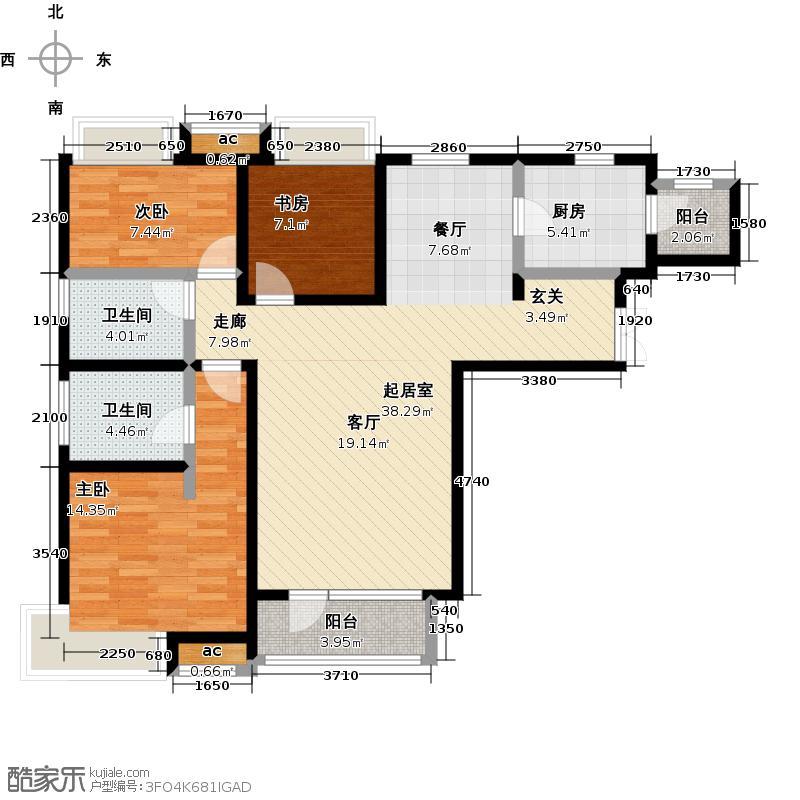 新汇华庭130.00㎡2号楼B户型三室两厅两卫 130平米户型3室2厅2卫