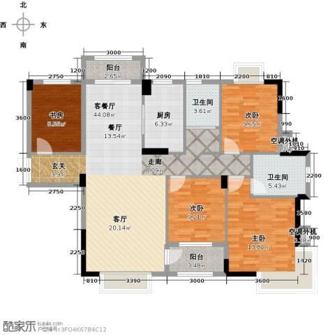 嘉业海棠湾4室1厅2卫1厨135.00㎡户型图