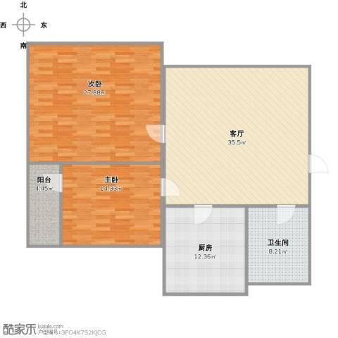 鲍德德裕家园2室1厅1卫1厨136.00㎡户型图