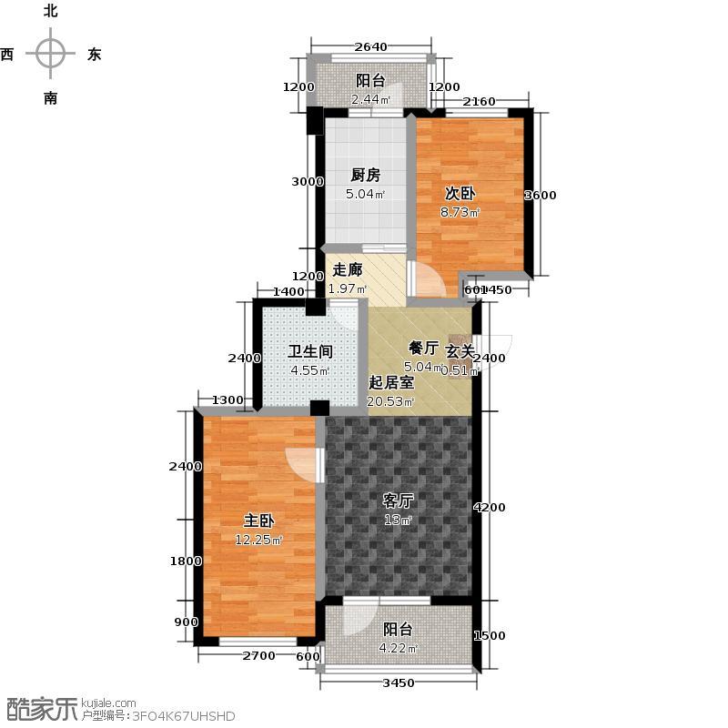 郁林海景花园78.78㎡E户型78.78-89.96两室两厅户型2室2厅1卫