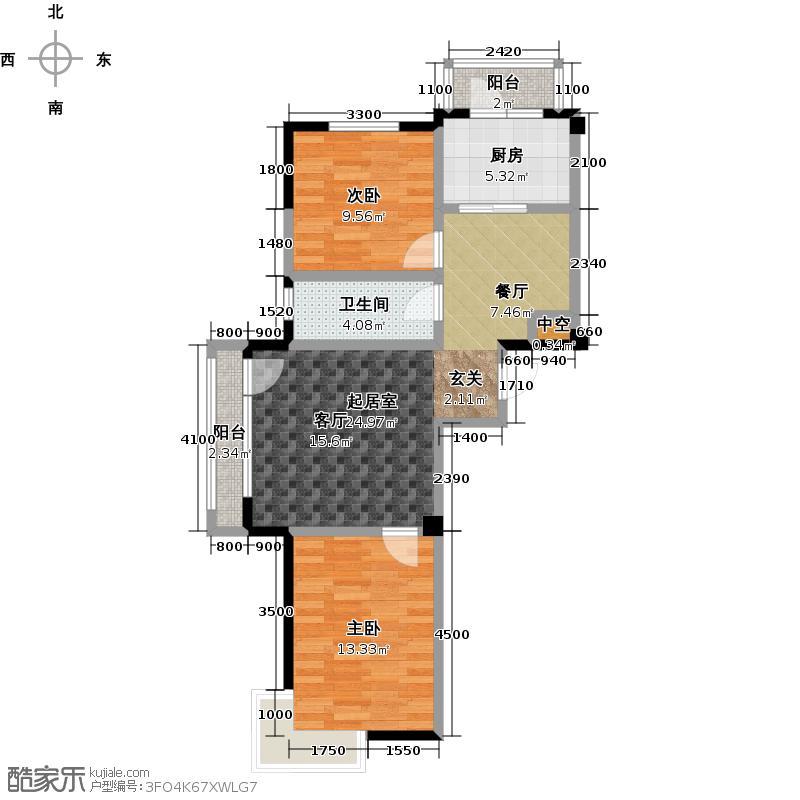 郁林海景花园95.18㎡A户型 2室2厅1卫户型