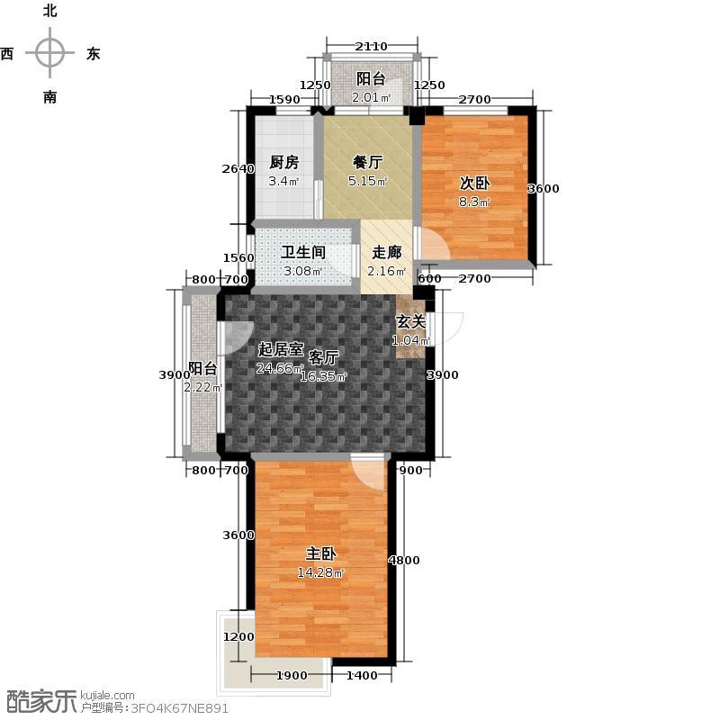 郁林海景花园106.78㎡A户型83.91-106.78两室两厅户型2室2厅1卫