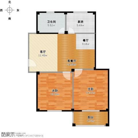 东海明园2室1厅1卫1厨91.00㎡户型图