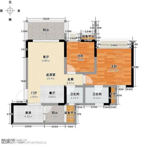 璐易豪庭2室0厅2卫1厨69.00㎡户型图