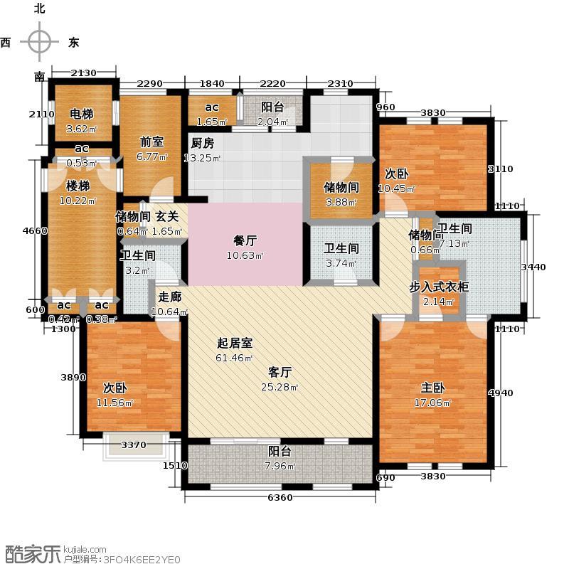 月亮湾3号183.00㎡M户型4室2厅3卫户型4室2厅3卫