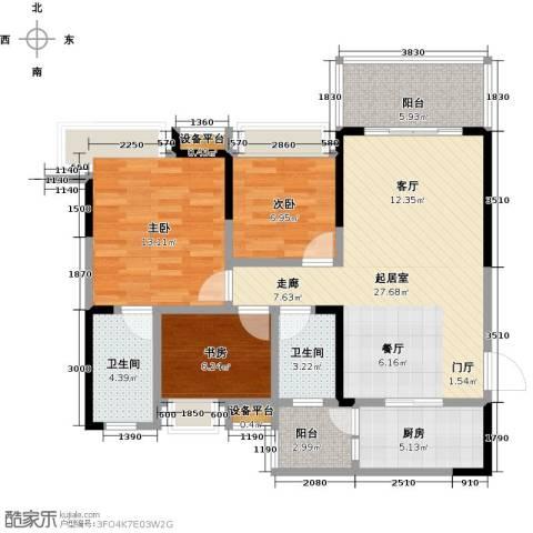 璐易豪庭3室0厅2卫1厨88.00㎡户型图