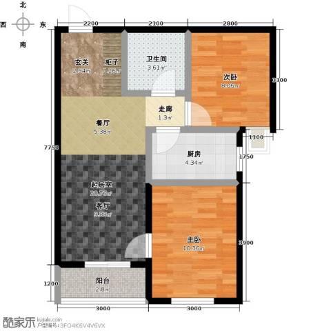 正泰园B区2室0厅1卫1厨73.00㎡户型图