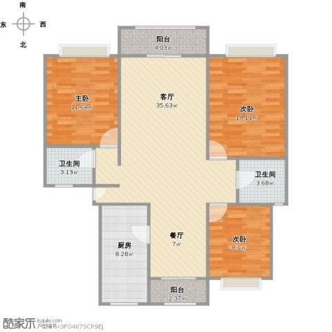 沁春园新一村3室1厅2卫1厨123.00㎡户型图