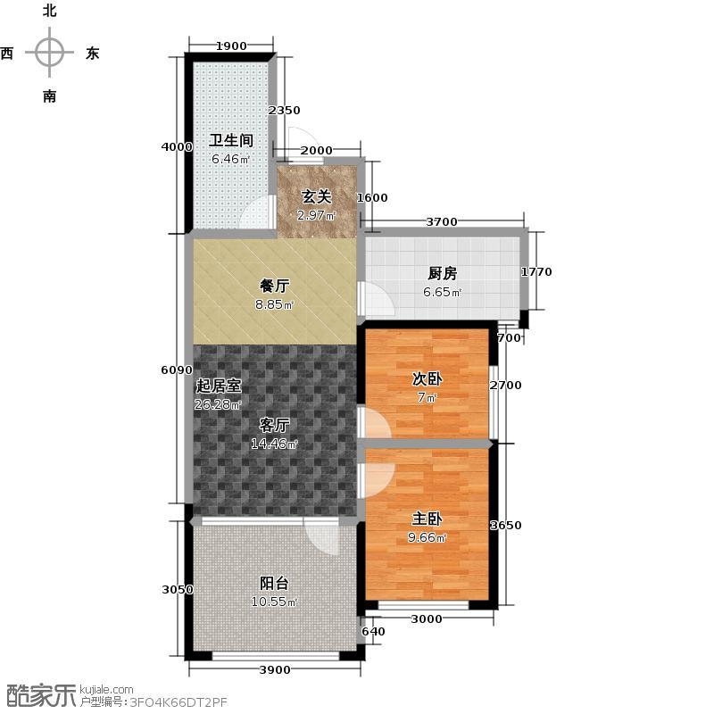 远乡维也纳两室一厅一卫约89平户型2室1厅1卫
