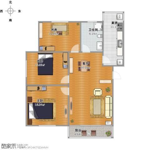 未来花园3室1厅1卫1厨123.00㎡户型图