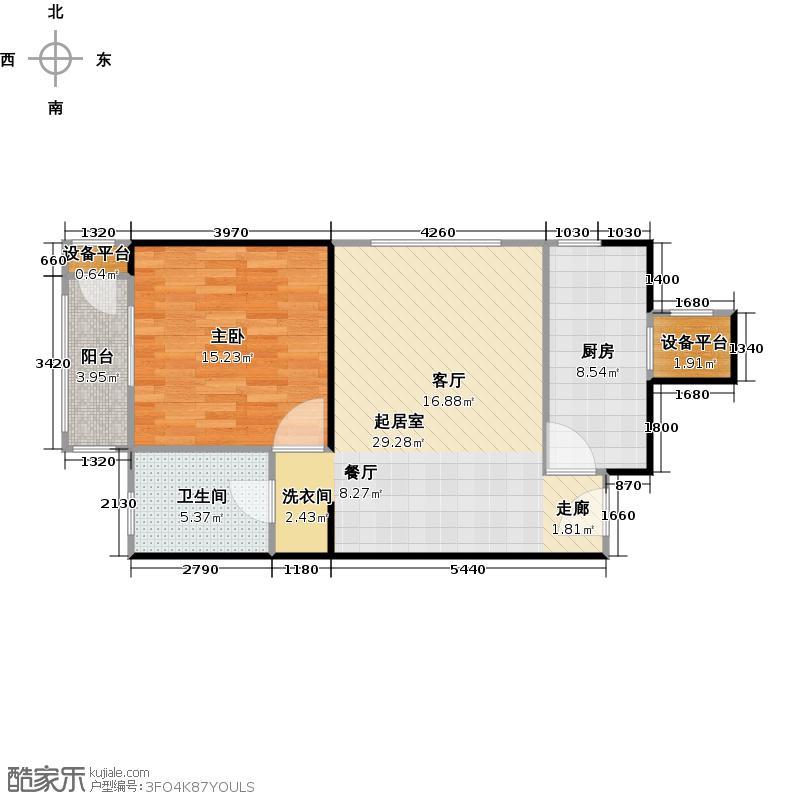 柏林爱乐三期1号楼D1一室两厅一卫户型