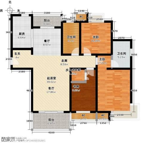 越湖家天下3室0厅2卫1厨124.98㎡户型图