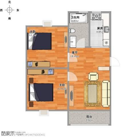 高行绿洲2室1厅1卫1厨76.00㎡户型图