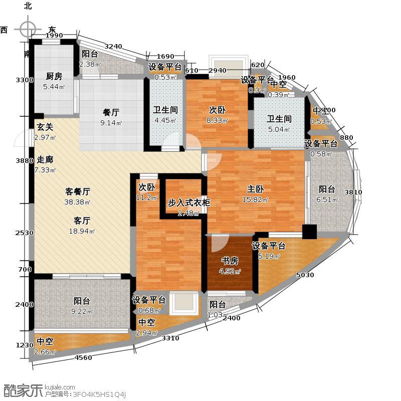 五矿万境水岸161.00㎡D-1户型4室2厅2卫1厨户型4室2厅2卫