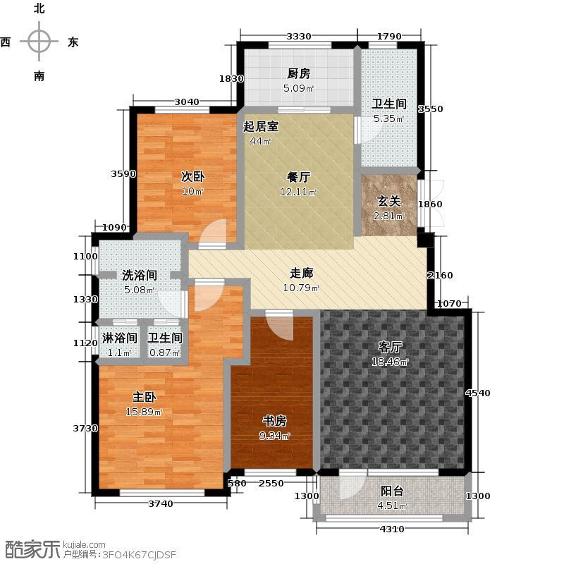 百合花园127.00㎡J户型3室2厅2卫