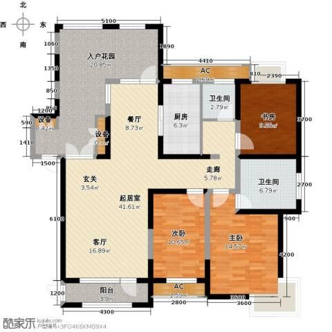 金地长青湾3室0厅2卫1厨141.77㎡户型图