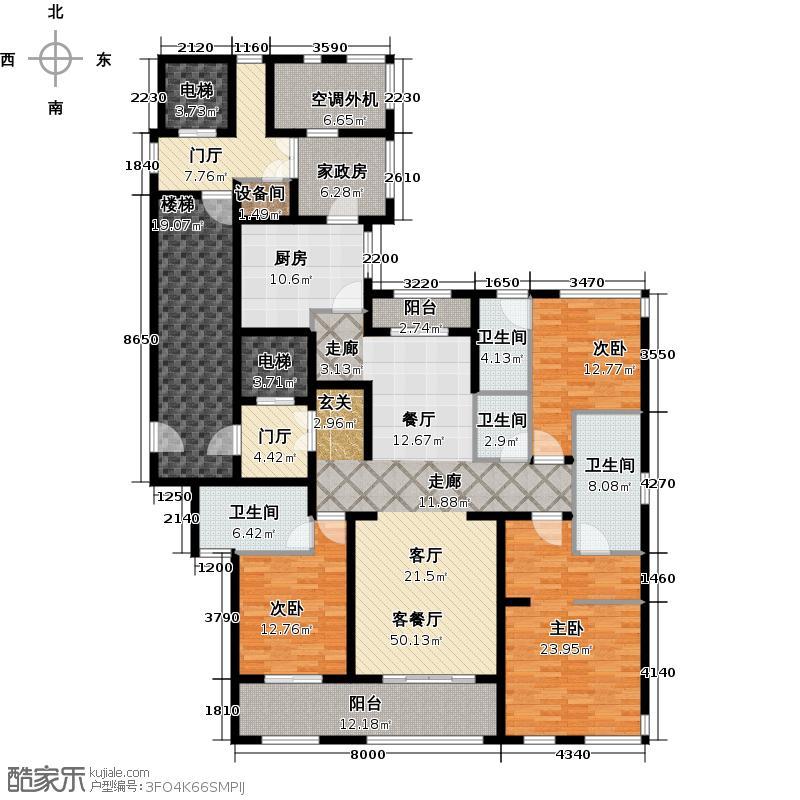 金地天际230.00㎡2号楼标准层B2户型3室2厅4卫