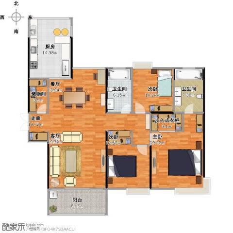 恒基九珑天誉3室1厅2卫1厨177.00㎡户型图