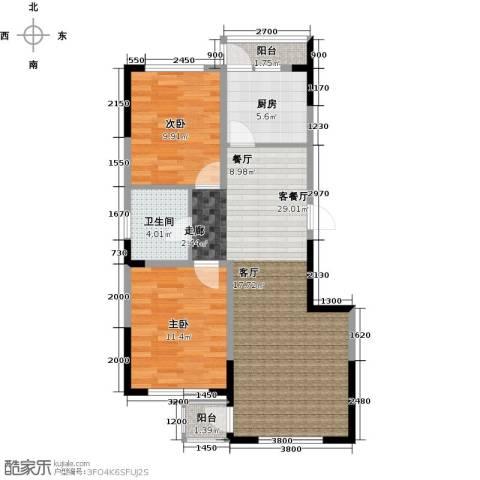 中凯梦之城2室1厅1卫1厨89.00㎡户型图