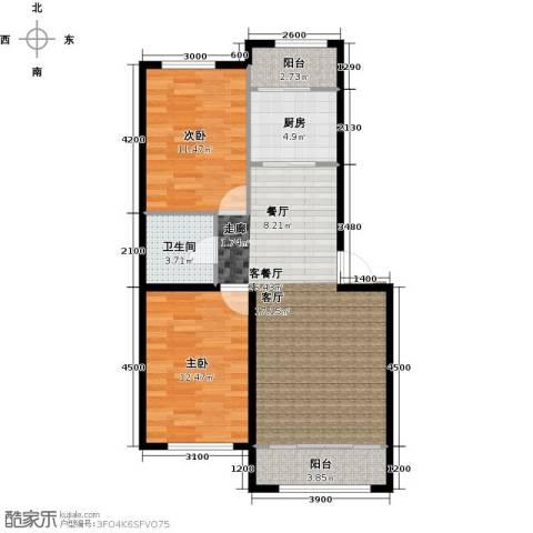 中凯梦之城2室1厅1卫1厨91.00㎡户型图