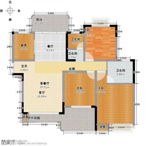 学府港湾3室1厅2卫1厨130.00㎡户型图