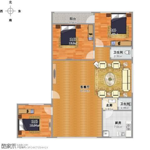 馆驿街新区3室1厅2卫1厨105.95㎡户型图
