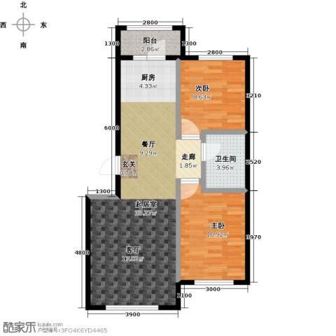 海湾新城2室0厅1卫0厨84.00㎡户型图