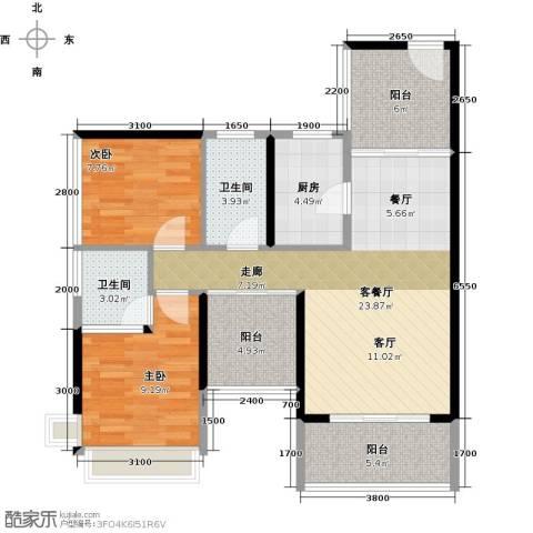 潜龙曼海宁2室1厅2卫1厨88.00㎡户型图