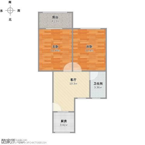 泗塘五村2室1厅1卫1厨59.00㎡户型图