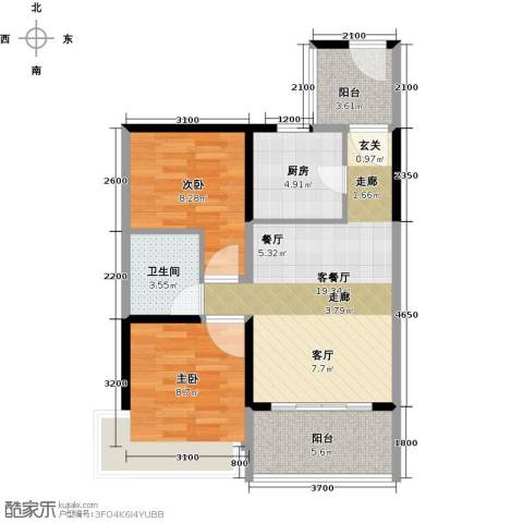 潜龙曼海宁2室1厅1卫1厨71.00㎡户型图