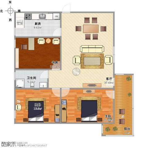 繁景花园别墅3室1厅1卫1厨141.00㎡户型图
